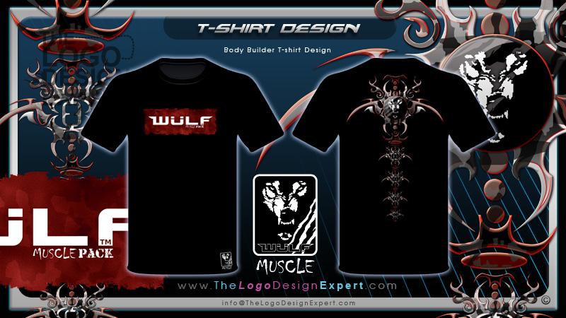 Body builder brand t shirt design cool tribal back spine for T shirt design and printing online